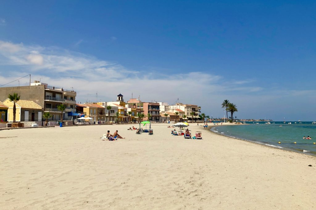 The beach on the coast in Murcia, Spain.
