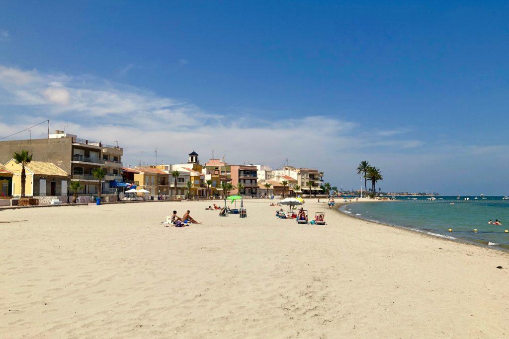 The beach on the coast in Murcia, Spain.