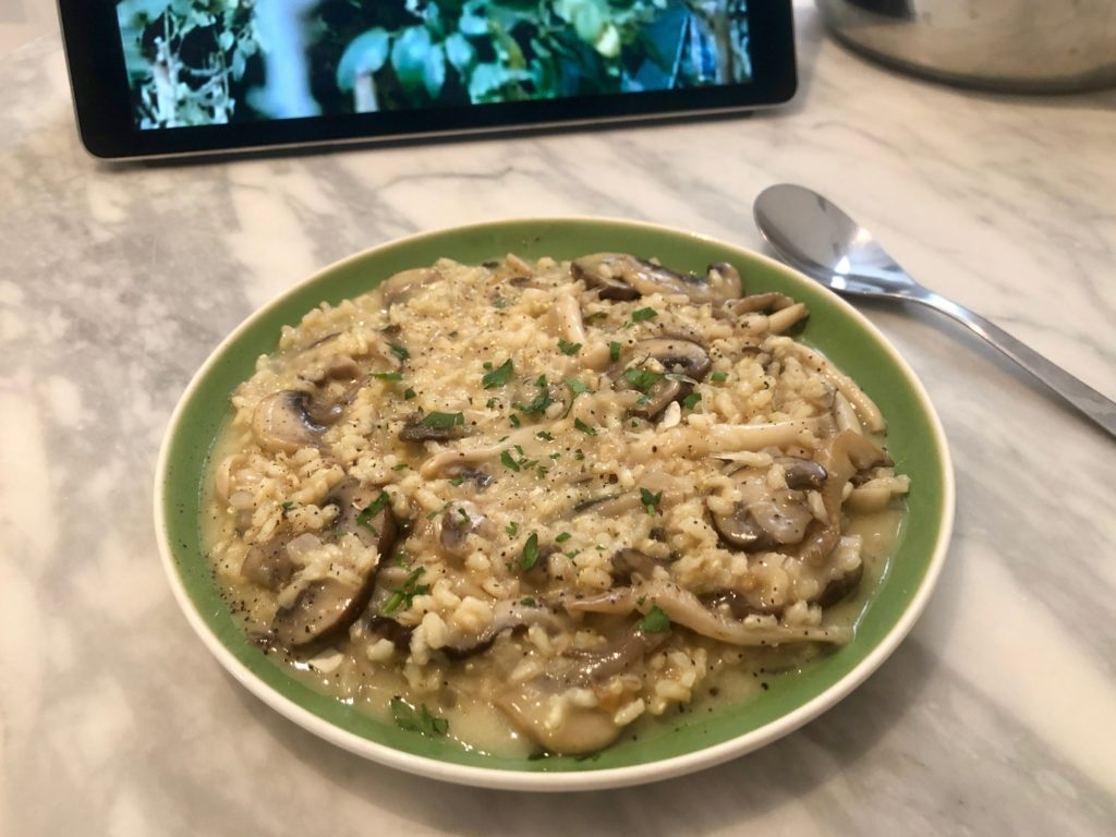 A mushroom risotto dish that I cooked.
