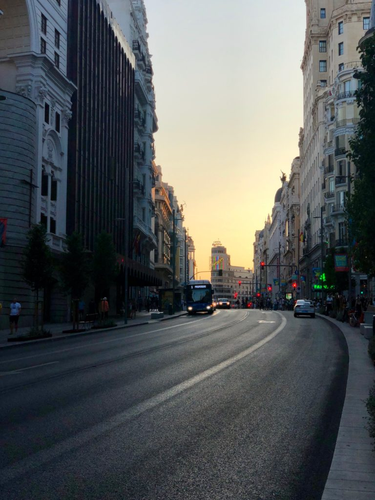 A sunset as seen looking down Gran Vía, Madrid.