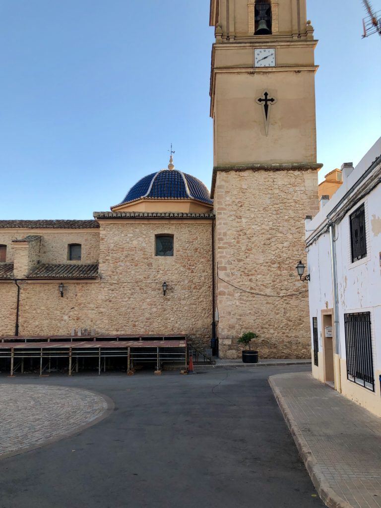 The church spire in the centre of Caudete de las Fuentes.