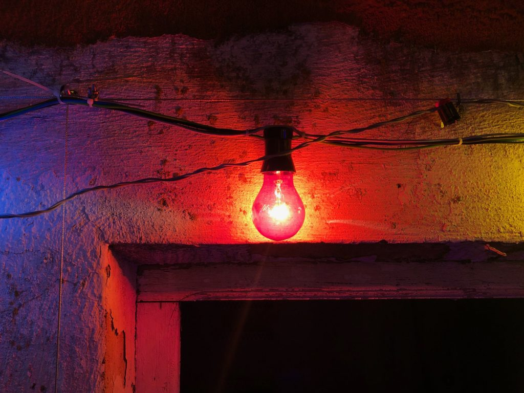 A red lightbulb.