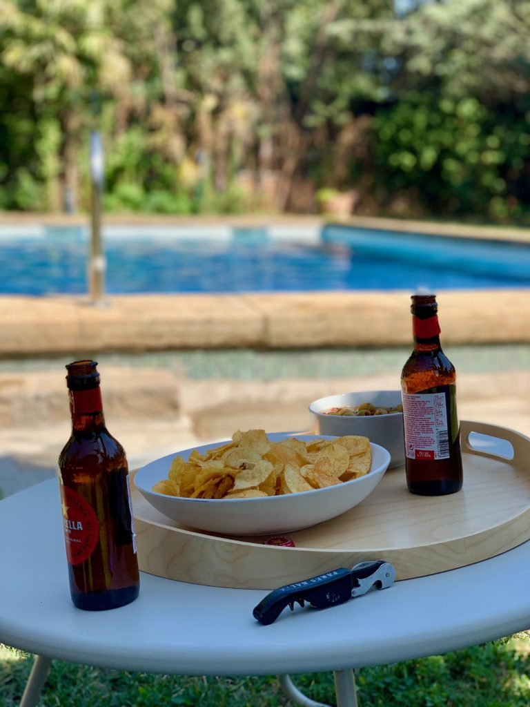Our beers by the pool.