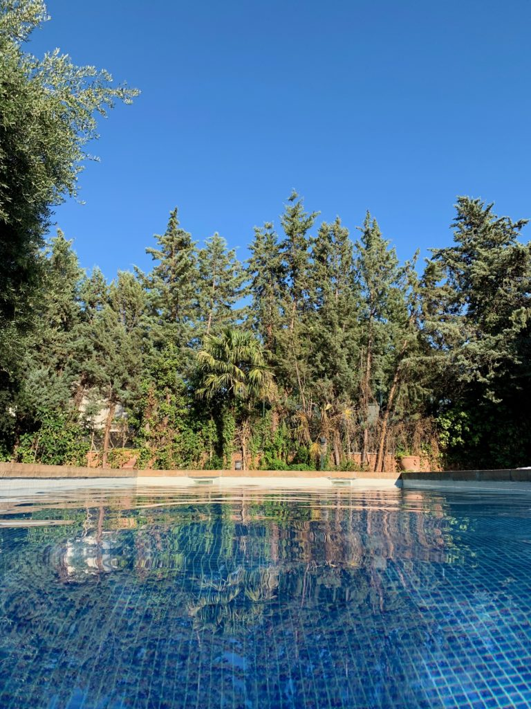 A view from the waterline of the pool.
