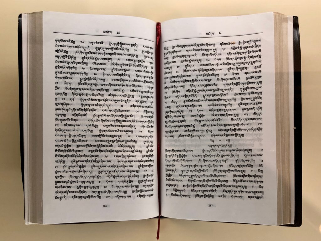 Pages of a bible in the Bhutanese Dzongkha script.