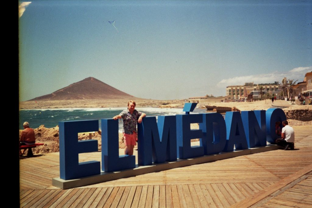 I stand in between the letters spelling out the name of the town on the Tenerife coast.