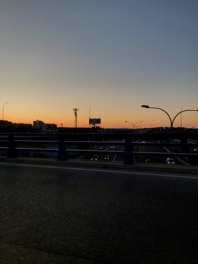 A sunset over the south end of Madrid.