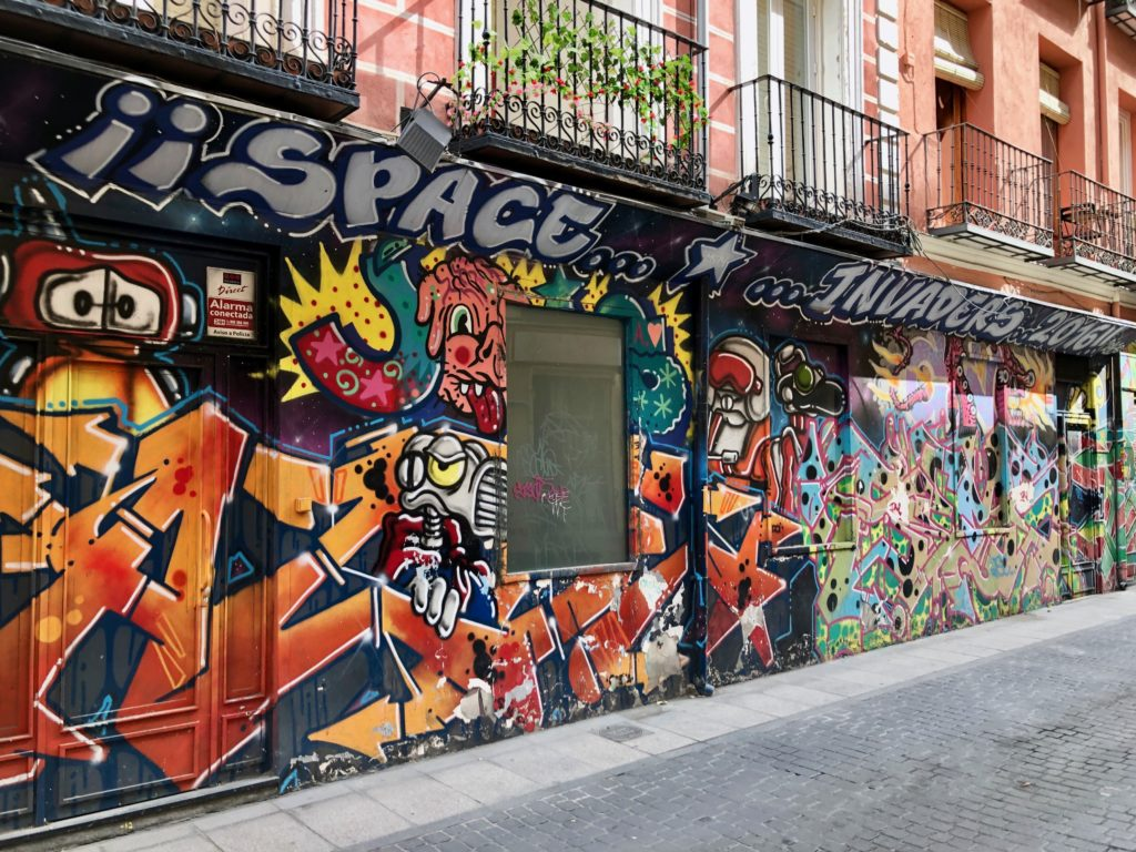 Graffiti on the facade of a building in the Malasaña district of Madrid.