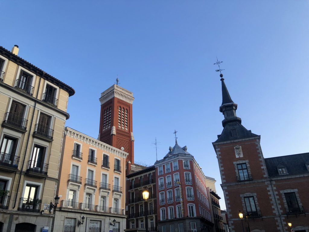Buildings near Plaza Mayor in Madrid.
