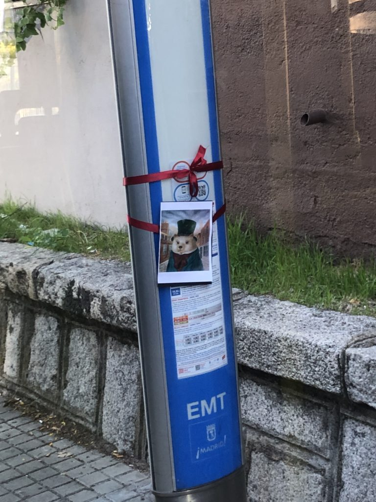 A photo of a hedgehog is attached to a bus stop with a ribbon.
