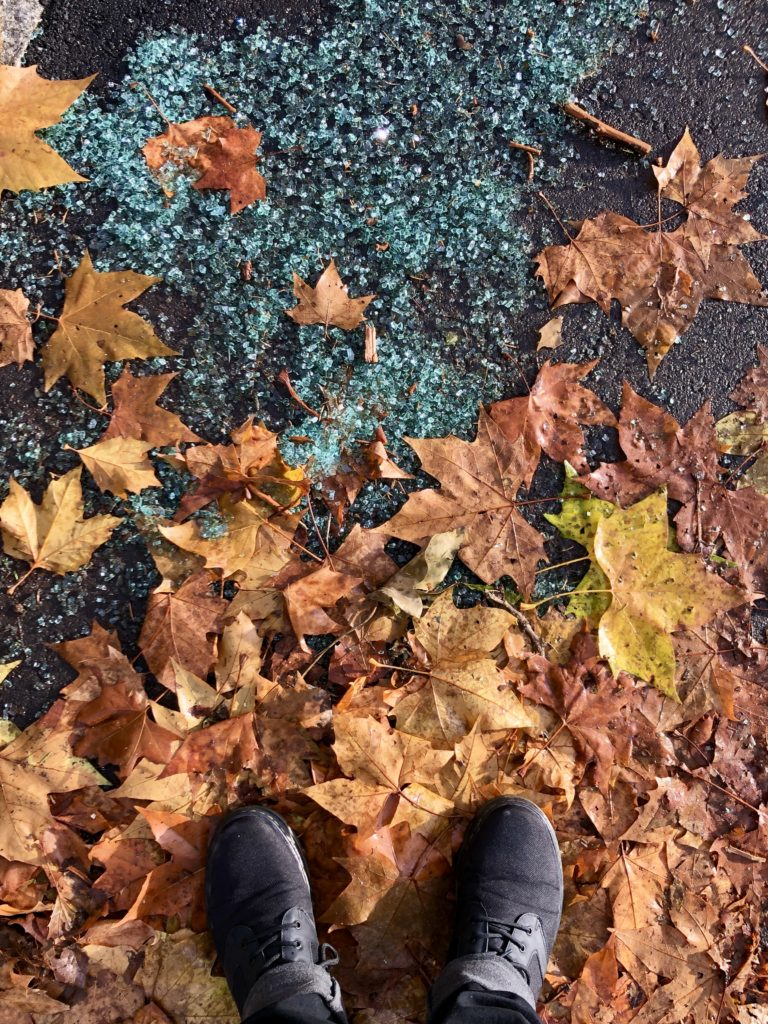Autumn leaves and shattered glass.
