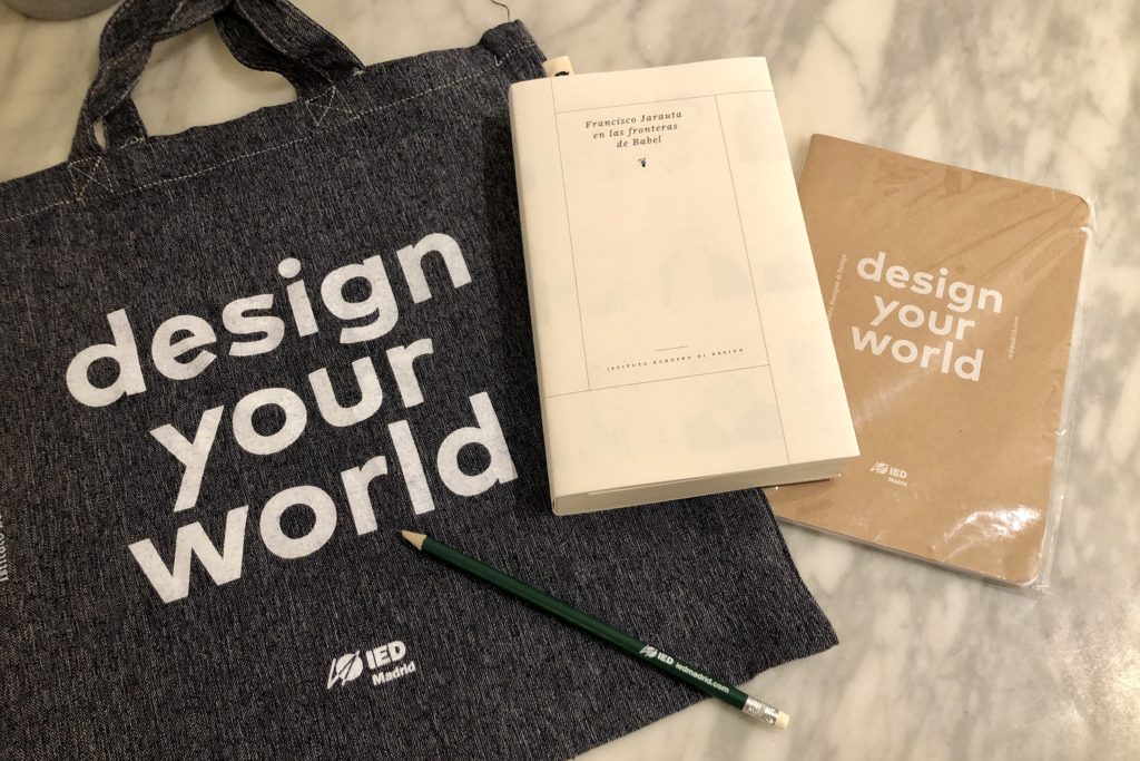 A tote bag, book, and notebook gifted to me by the European Design Institute.