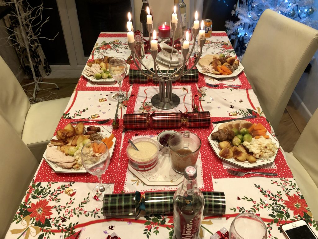 Our Christmas dinner on our decorated table.