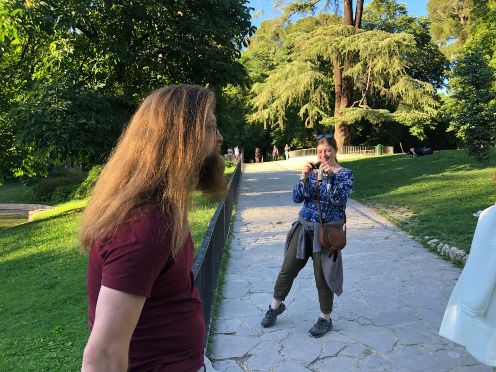 Em and Lincoln in Retiro park, Madrid.