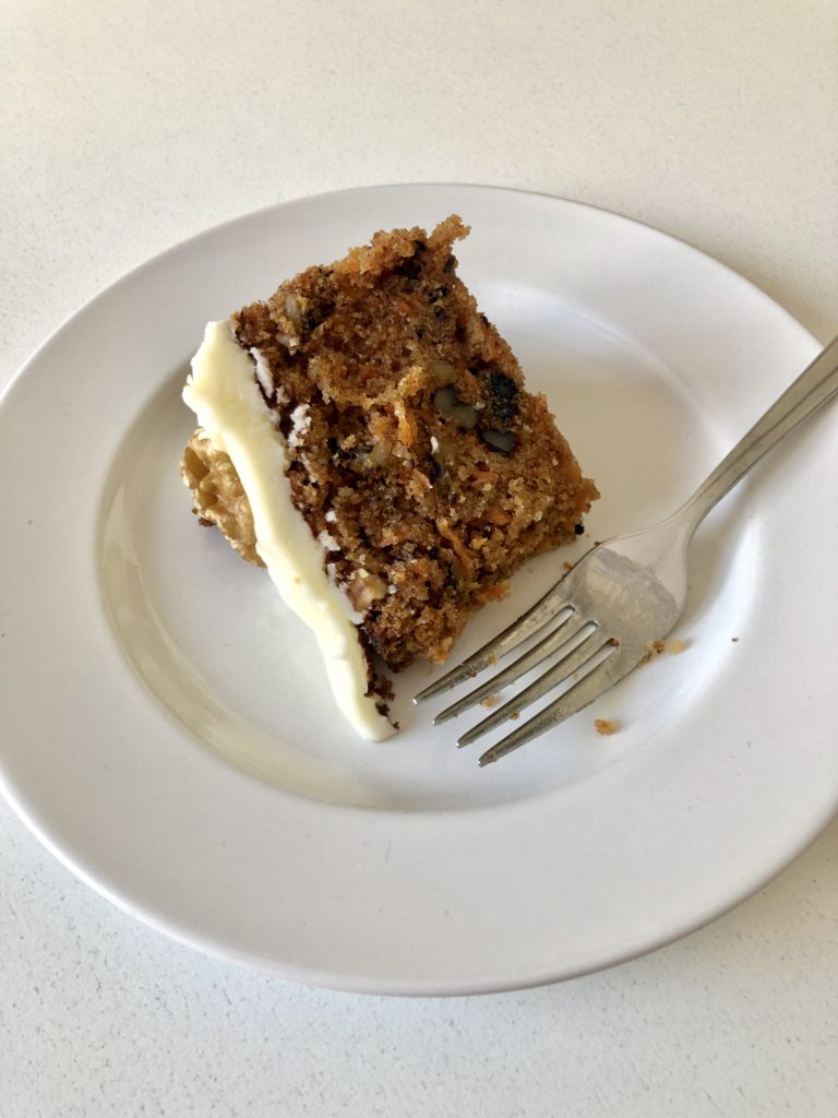 A slice of my home made carrot cake.