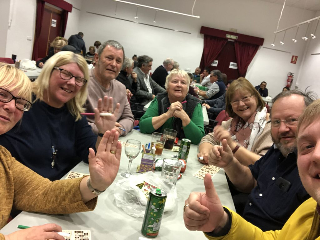 Me, my auntie, and her friends at a game of bingo.