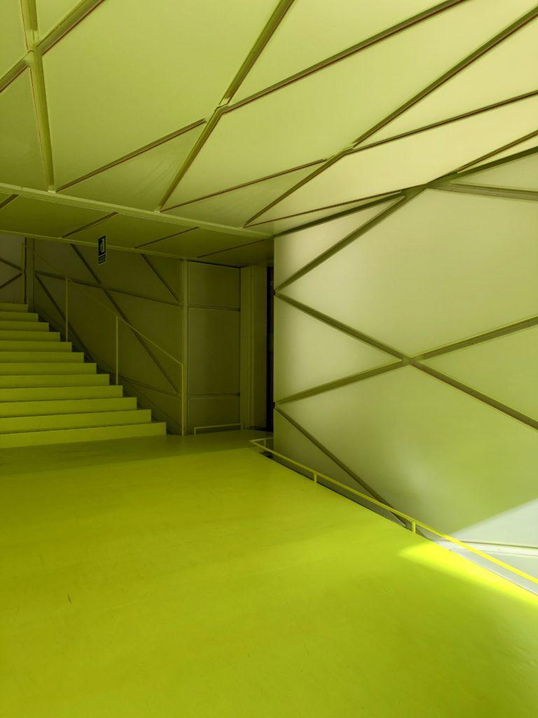 Neon yellow corridor.