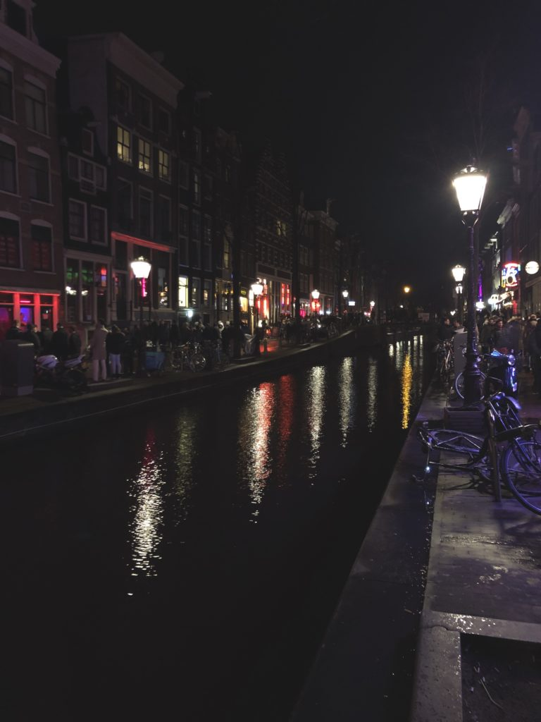 Amsterdam's red light district by night.
