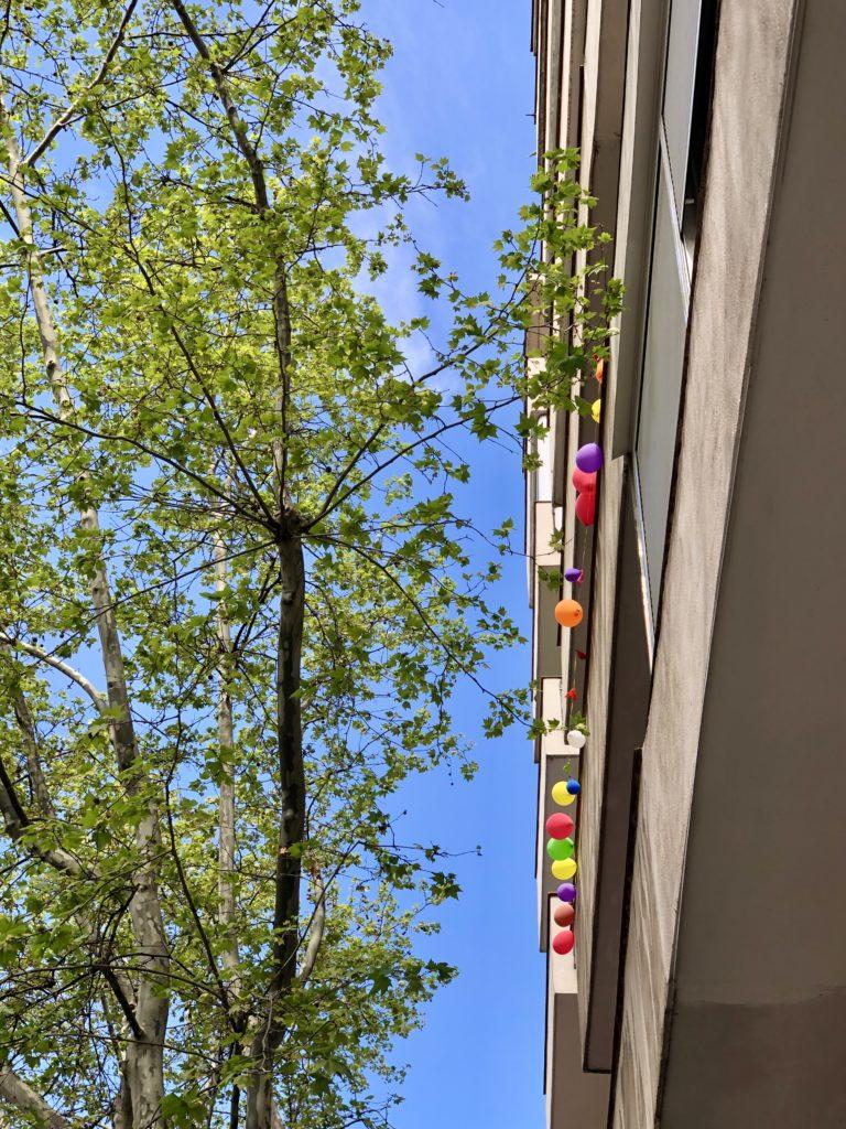 Balloons decorate a balcony during Madrid's coronavirus lockdown.