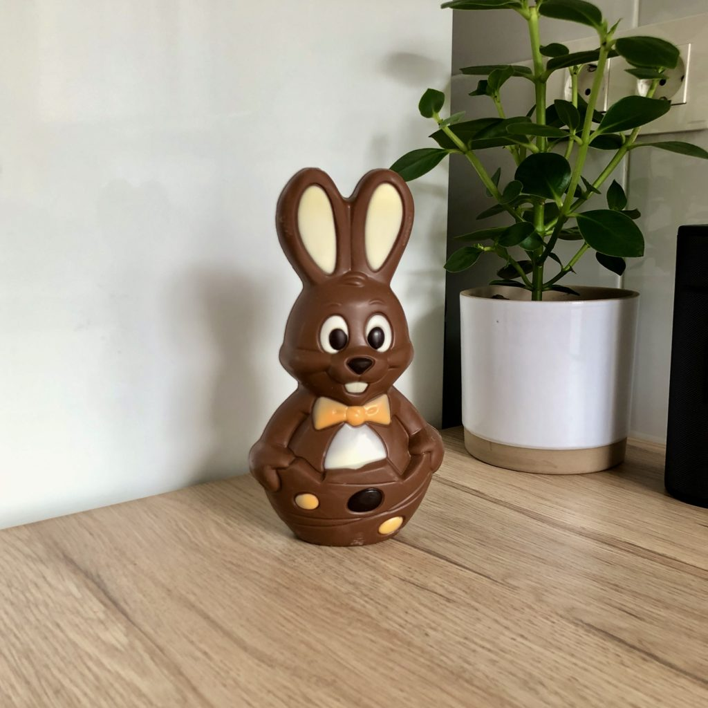 A chocolate rabbit sits in my kitchen.