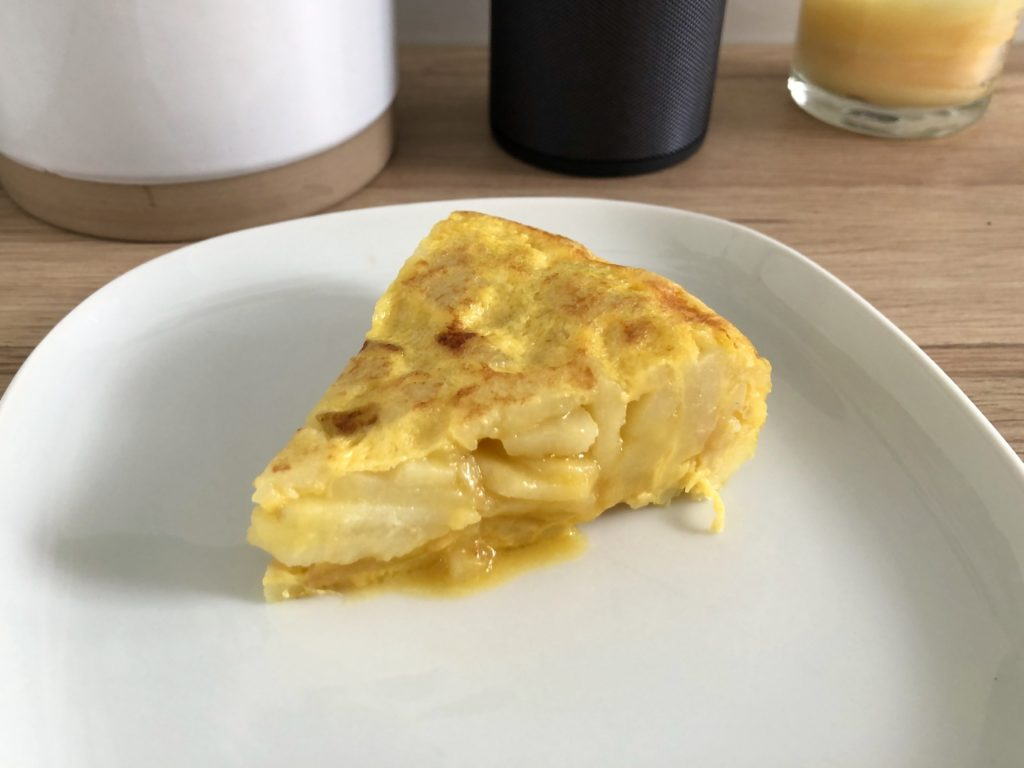 A slice of the Spanish omelette.