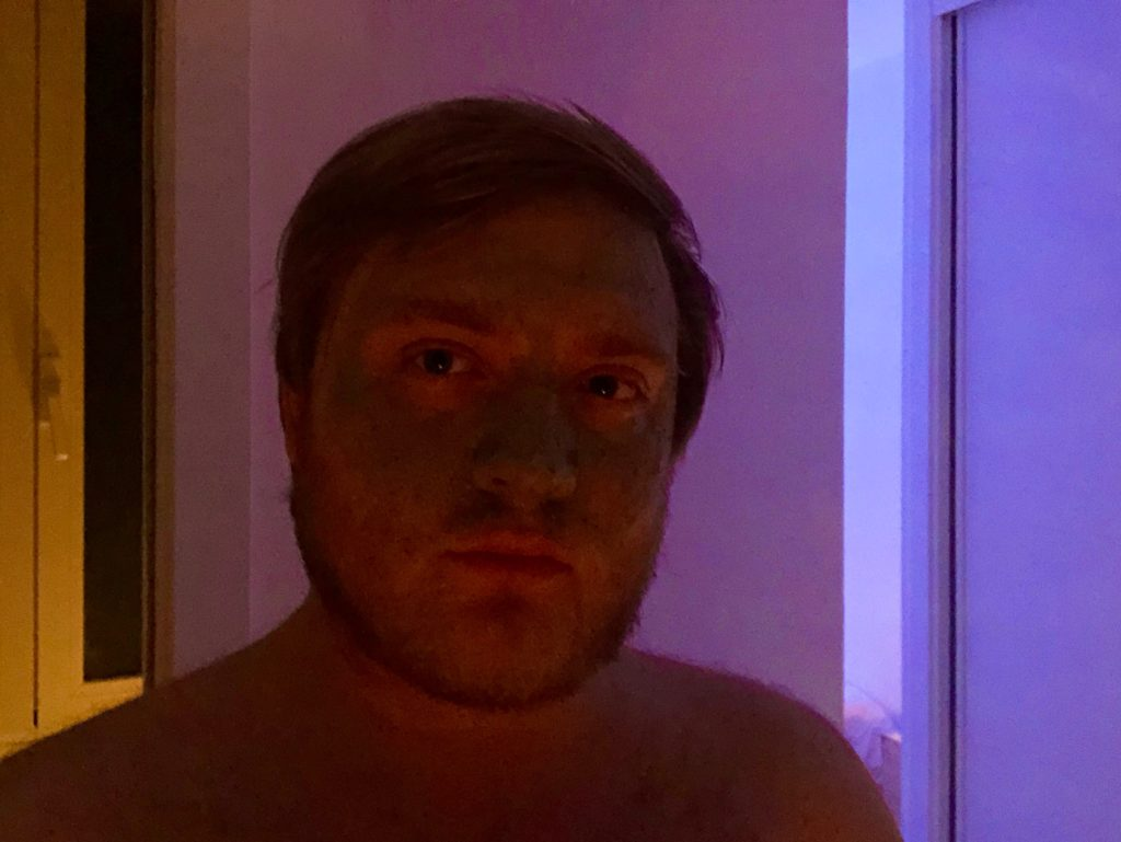 My face with a face mask.