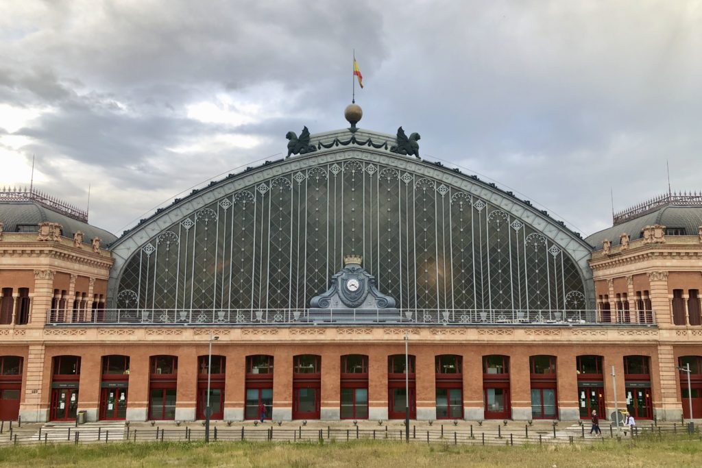 The facade of Atocha Train Station, currently out of use due to the coronavirus pandemic, in Madrid, Spain.