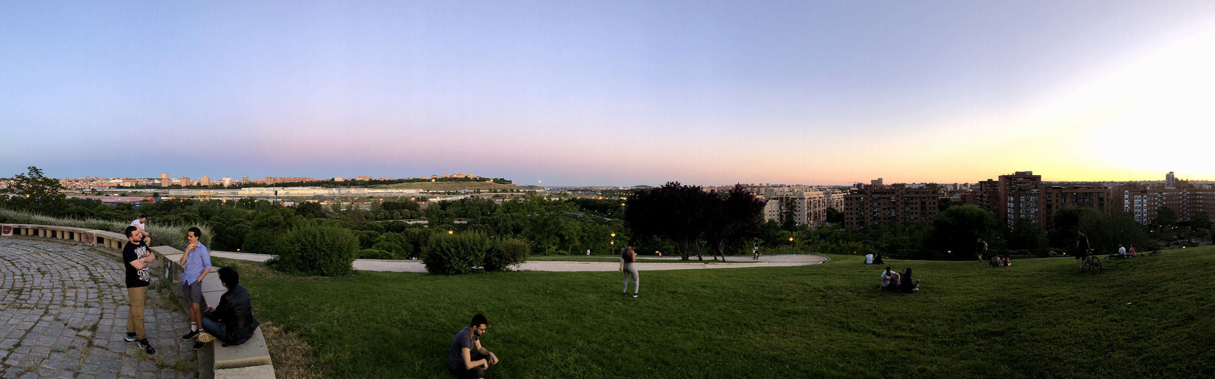 A panorama over the south of Madrid during sunset.
