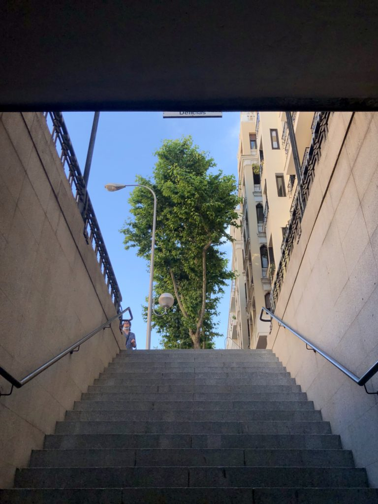 Looking up to the sky from the entrance to Delicias metro station in Madrid, Spain.
