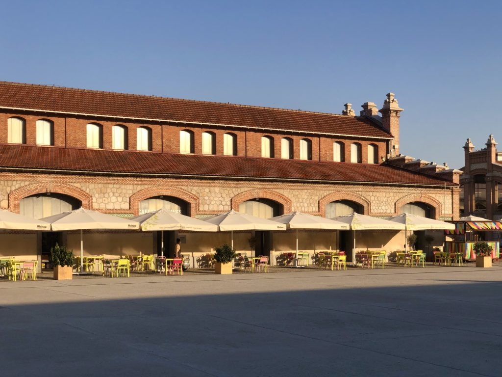 One of the buildings of the Matadero in Madrid in the evening sun.