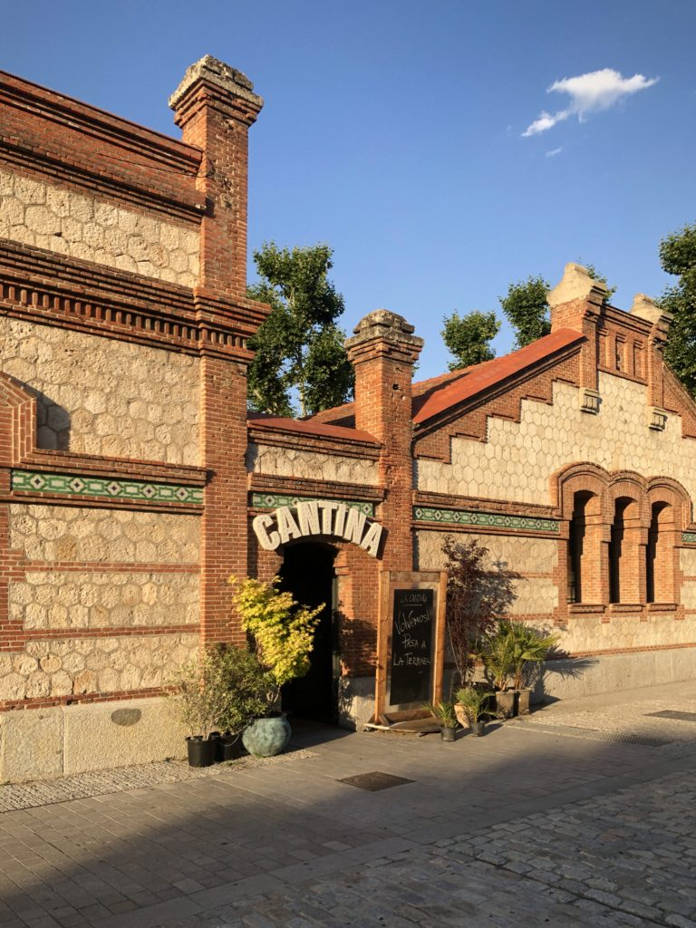 "A redbrick building bearing the name ""Cantina"" (Canteen) at the Matadero cultural centre in the south of Madrid, Spain."