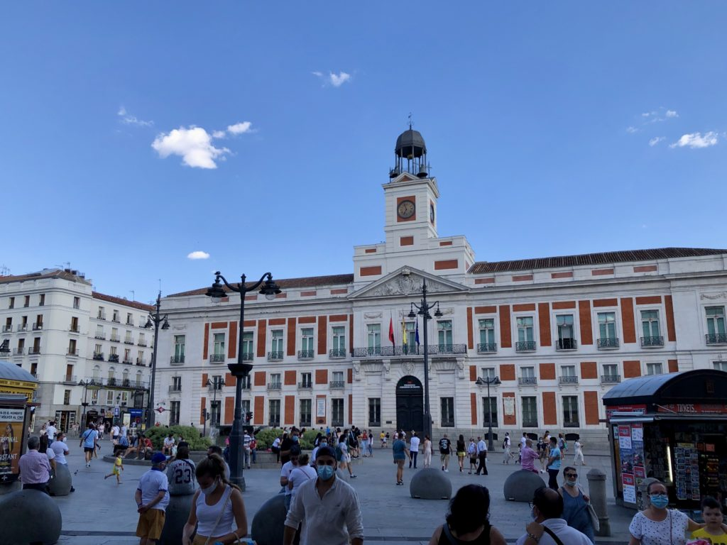 The puerta del sol in the centre of Madrid.