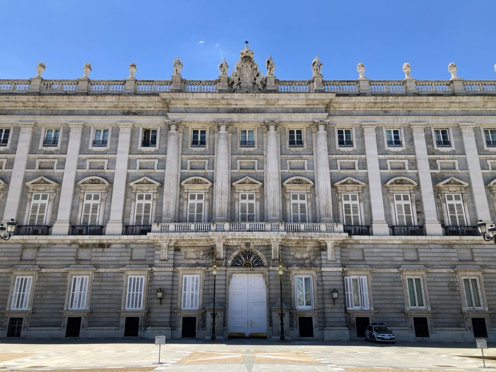 The east facade of the royal palace in Madrid with no people around at all.