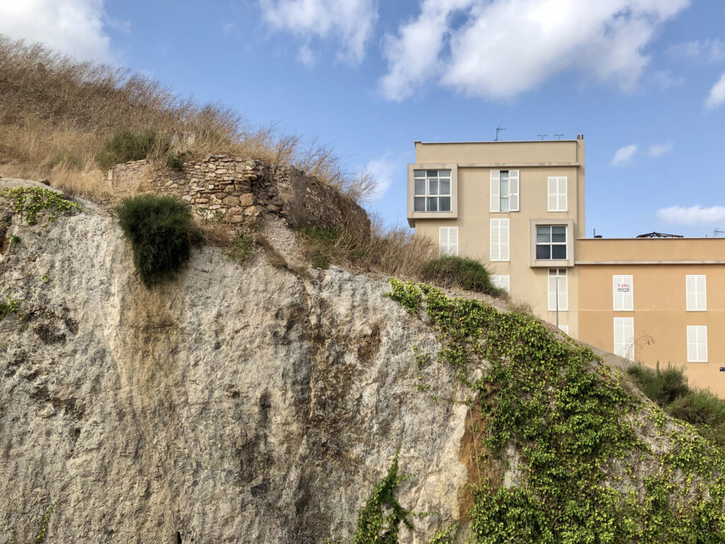 A cliff with a house behind it.