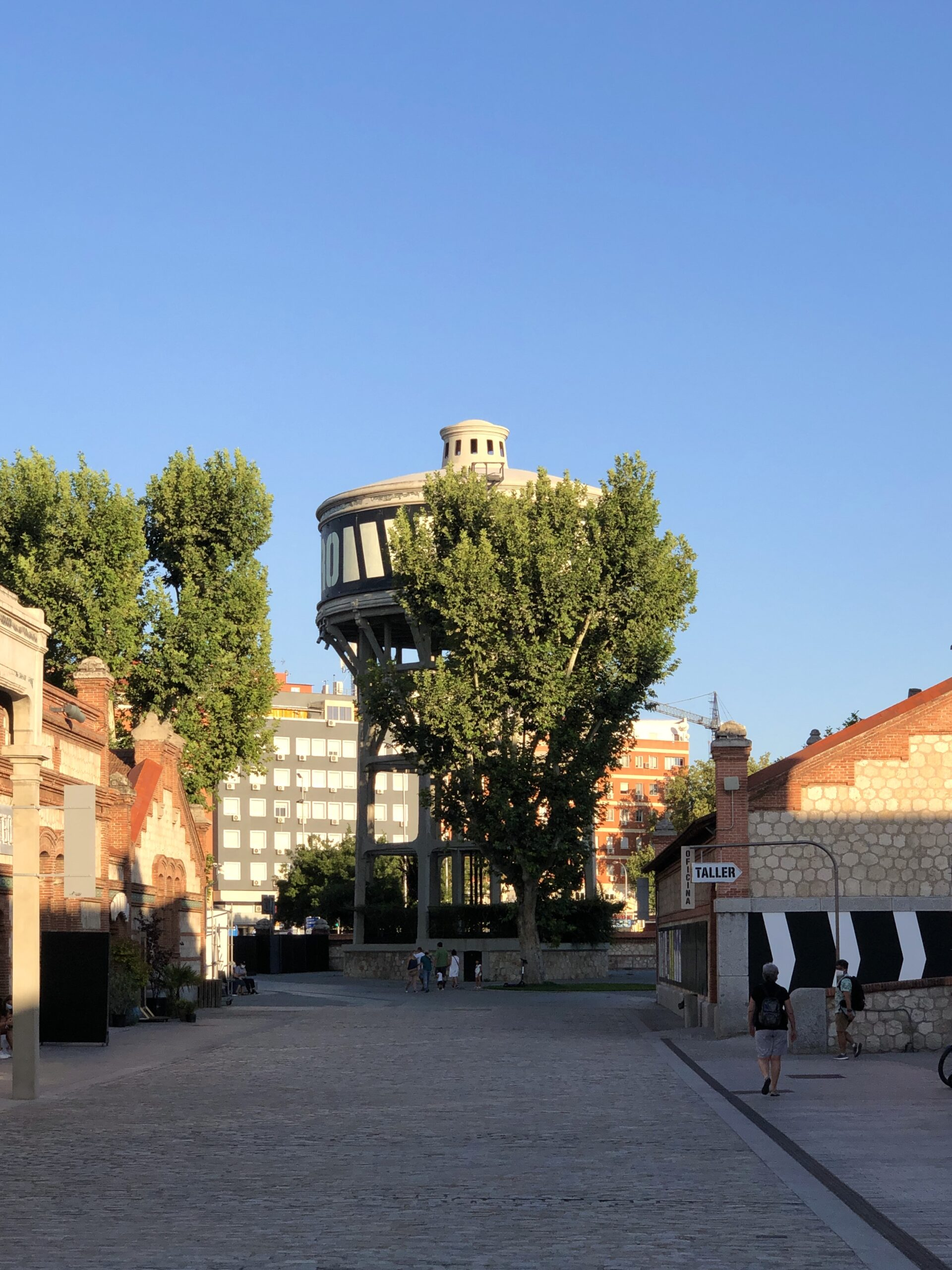 The water tower at the Matadero, seen in the sunset.