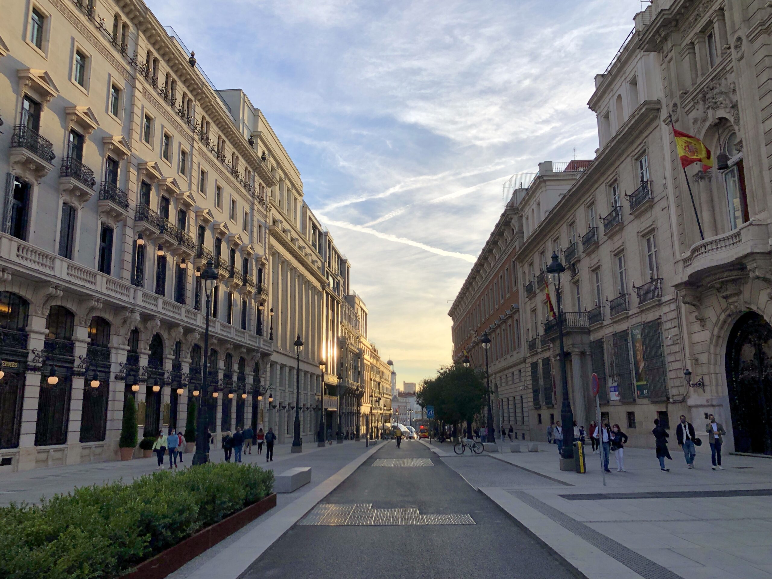 The street leading to Sol in Madrid in the evening sun.
